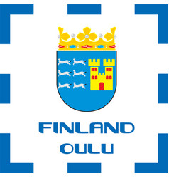 national ensigns flag and emblem of finland - oulu vector image