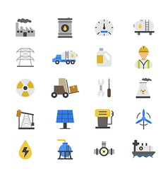 Oil and industy flat color icons vector