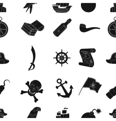 Pirates pattern icons in black style big vector