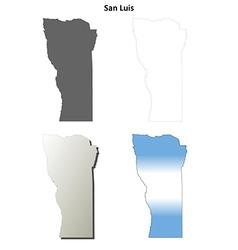 San luis blank outline map set vector