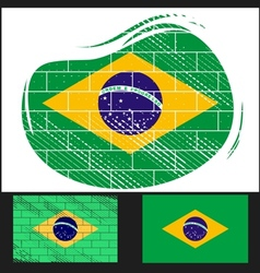 Scratched flag of Brazil vector image vector image