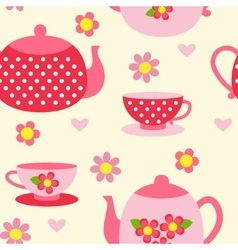 Seamless pattern with tea cups and pots vector image vector image