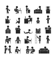 Set of businessman working vector image