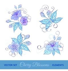 Set of cherry flowers vector image vector image