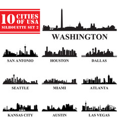 silhouettes cities of usa set 2 vector image vector image
