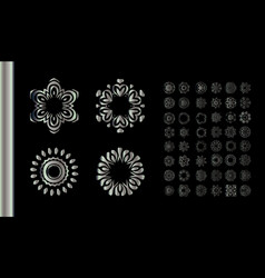 silver round ornament pattern on black background vector image vector image