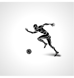 Soccer or football player kicks the ball vector