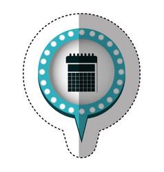 Sticker with circular speech with blue contour vector