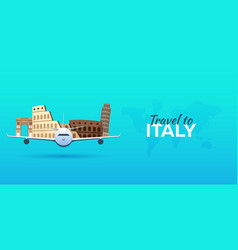 Travel to italy airplane with attractions travel vector