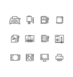 Writing tools linear icons vector image vector image