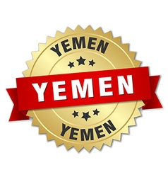 Yemen round golden badge with red ribbon vector image vector image