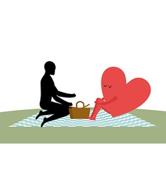 Lovers on picnic Rendezvous in Park The heart of vector image