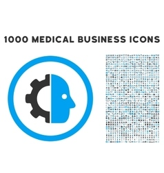 Cyborg icon with 1000 medical business pictograms vector