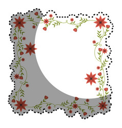 Sticker with square frame with creepers and red vector