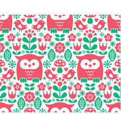 Seamless scandinavian pattern nordic folk art vector