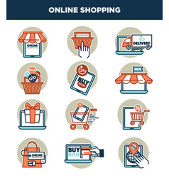 online shopping internet and web icons templates vector image