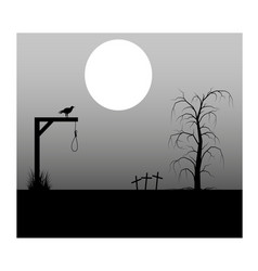 Spooky background cemetery and gallows vector