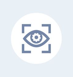 eye with gear icon isolated on white vector image