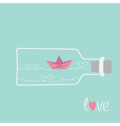 Origami paper boat and heart wave wine bottle vector