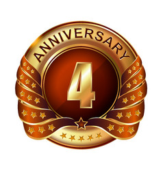 4 years anniversary golden label with ribbon vector image