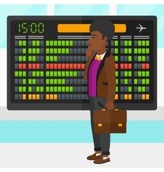 Man looking at schedule board vector