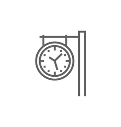 Train station clock line icon vector