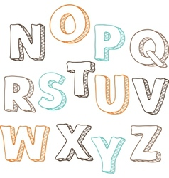 Cute hand drawn font letters set N-Z vector image