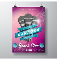 Flyer on a summer karaoke party theme vector