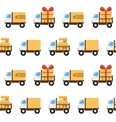 Seamless pattern with toy trucks vector