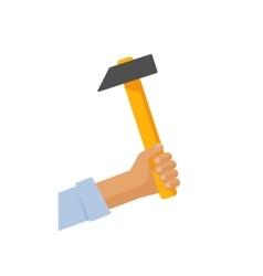 Repairman hand holding wooden hammer vector
