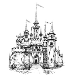 Castle front view pencil hand drawing ready to vector