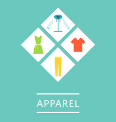 apparel shop icon set in flat design vector image vector image