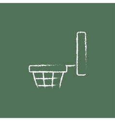 Basketball hoop icon drawn in chalk vector