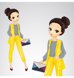 Bisness Girl In Yellow Suit vector image
