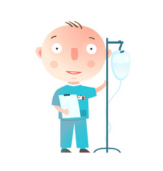 Boy wants to become a doctor profession game vector