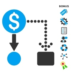 Cashflow Flat Icon With Bonus vector image