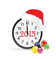 christmas clock 2015 color vector image vector image