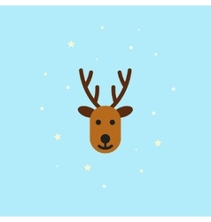 Christmas deer icon in flat style - vector