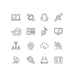 Communication and web line icons vector image vector image