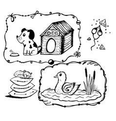 dog with a box mouse with cheese duck in the lake vector image vector image