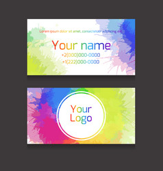 double-sided business card template with vector image vector image