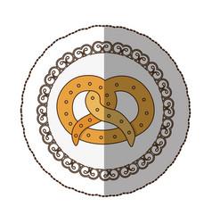 Emblem pretzel bread icon vector
