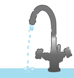 Faucet and droplets vector