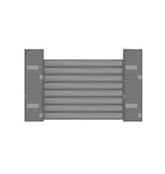 Fence with brick pillars icon monochrome vector