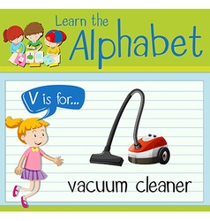 Flashcard letter v is for vacuum cleaner vector