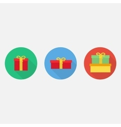 Flat gift box icon set vector