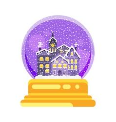 Flat style snow globe house vector