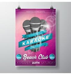Flyer on a summer karaoke party theme vector