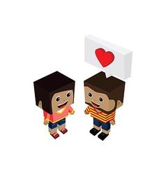 geek couple lover in romance love vector image
