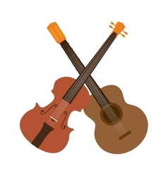 Guitar and chello instrument isolated icon vector